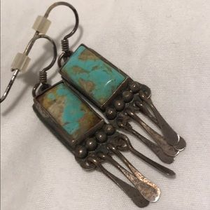 turquoise sterling silver drop earrings native